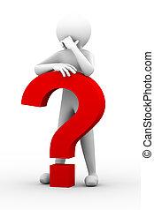 3d, verward, persoon, met, vraagteken, illustratie
