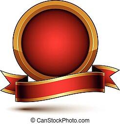 3d, vetorial, clássicas, real, símbolo, sofisticado, dourado, anel, com, vermelho, ondulado, fita, celebridade, emblema, isolado, branco, fundo, lustroso, redondo, festivo, fita, melhor, para, teia, e, gráfico, design.