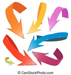 3d, vetorial, coloridos, setas, jogo, isolado, branco, fundo