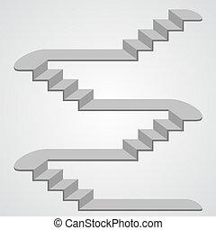 3d., vetorial, escadaria