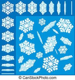 3d, vetorial, snowflakes, jogo