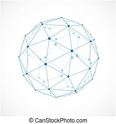 3d, vettore, basso, poly, sferico, oggetto, con, nero, collegato, linee punti, geometrico, blu, wireframe, forma., prospettiva, sfaccettatura, palla, creato, con, squadre, e, pentagons.