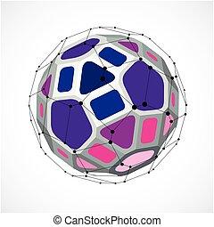 3d, vettore, basso, poly, sferico, oggetto, con, nero, collegato, linee punti, geometrico, viola, wireframe, forma., prospettiva, sfaccettatura, palla, creato, con, squadre, e, pentagons.