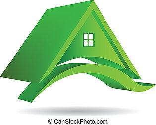 3d, vettore, casa verde, icona