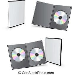 3d, vettore, dvd, scatole