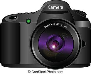 3d, vettore, macchina fotografica