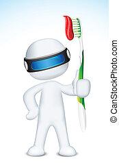 3d, vettore, spazzola, uomo, dente