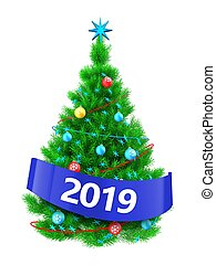 3d vibrant Christmas tree with 2019 sign - 3d illustration...