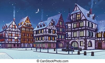 3d, vide, soir, chute neige, ville, hiver, européen