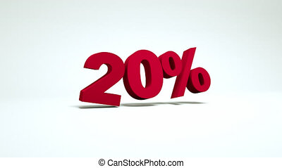 3d video 20 percent - 3d video with a falling symbol of 20...