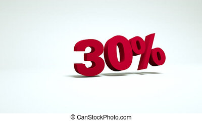 3d video 30 percent - 3d video with a falling symbol of 30...
