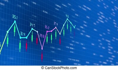 3d video animation of a growing stock chart
