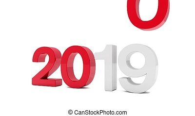 3d video animation of the years 2019 and 2020 in red and ...