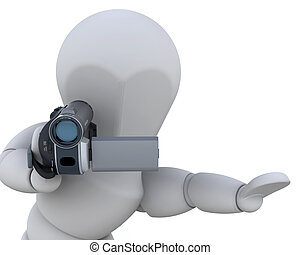 3D video camera - 3D man with a video camera isolated over...