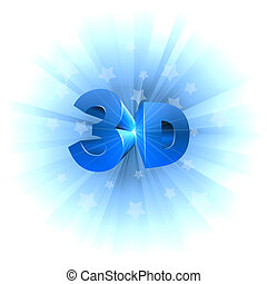 3D video format sign isolated on white.