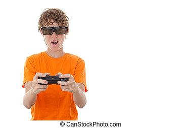 3d, video, gamer, brille