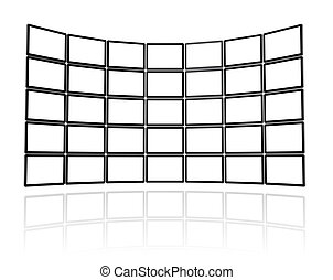 3D Video wall made of flat tv screens, isolated on white. With 2 clipping paths : global scene clipping path and screens clipping path to place your designs or pictures