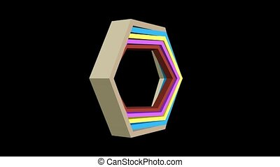3d video with hexagonal shapes in different colors, zooming...