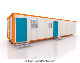 3D view of a portable cabin with window