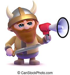 3d Viking bullhorn - 3d render of a viking using a megaphone