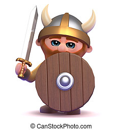 3d Viking defense - 3d render of a viking using his shield