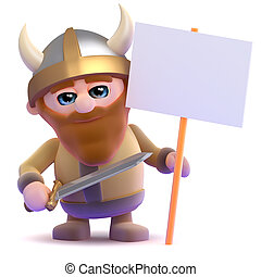 3d render of a viking with a placard