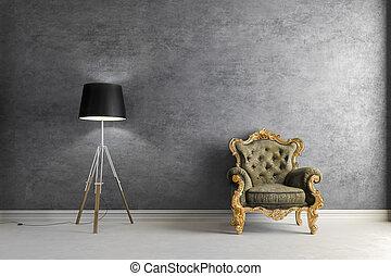 3d vintage arm chair interior rende