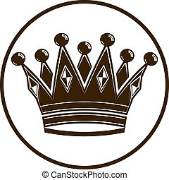 3d vintage crown, luxury coronet illustration. Classic imperial and VIP symbol, for use in advertising and design.