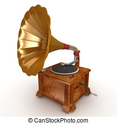3d vintage gramophone - 3d old vintage gramophone isolated...