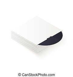 3D vinyl record in sleeve stack. Isometric vector illustration
