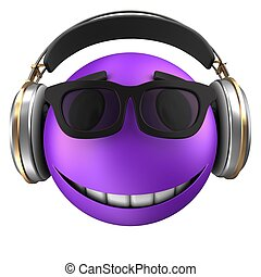 3d violet emoticon smile