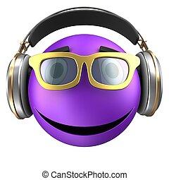 3d violet emoticon smile