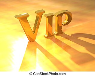 3D Vip Gold Text on yellow background