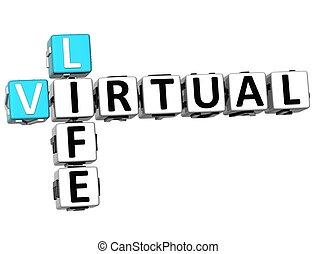 3D Virtual Life Crossword cube words