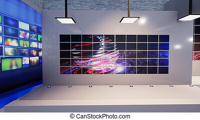 3D Virtual News Studio Background, 3d illustration