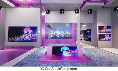 3D Virtual TV Studio News, 3d illustration