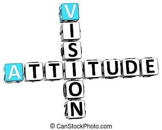 3D Vision Attitude Crossword on white background