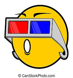 3d vision - Emoticon with glasses futuristic