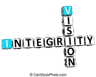 3D Vision Integrity Crossword on white background