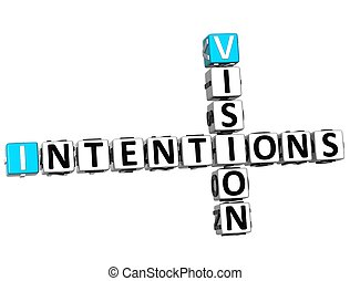 3D Vision Intentions Crossword on white background