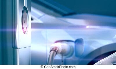 3d, voiture, charger, 4k, électrique, station., moderne, chargeur, animation