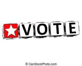 3D Vote Button Click Here Block Text