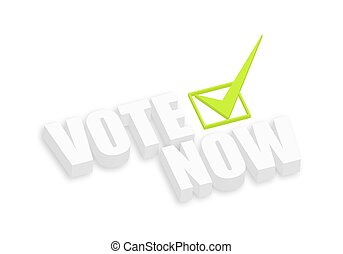 3d Vote Now Text with Check Mark Sign Vector Illustration