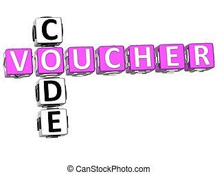 Voucher Code Crossword - 3D Voucher Code Crossword on white...