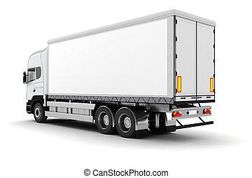 3d, vrachtwagen, op wit, achtergrond