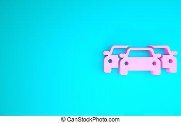 3d, vrijstaand, auto's, roze, render, achtergrond., blauwe , pictogram, minimalism, illustratie, concept.