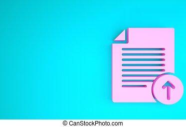 3d, vrijstaand, document, roze, arrow., render, symbool., achtergrond., uploaden, bestand, blauwe , pictogram, minimalism, illustratie, concept.