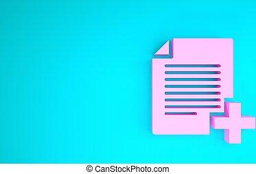 3d, vrijstaand, optellen, kopie, nieuw, icon., document, roze, render, achtergrond., bestand, blauwe , pictogram, minimalism, illustratie, concept.