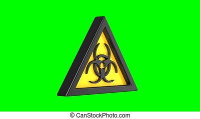 3d, vrijstaand, render, biohazard symbool, groene, ...