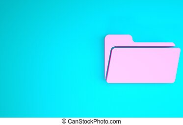 3d, vrijstaand, roze, render, achtergrond., blauwe , map, pictogram, minimalism, illustratie, concept.